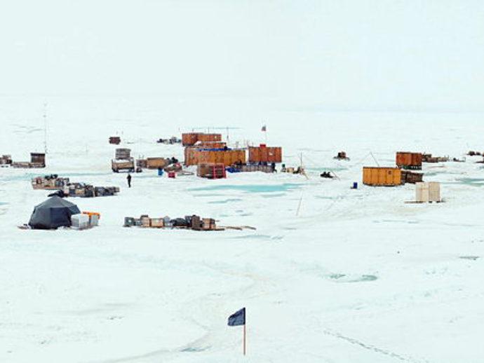 Панорама станции с борта ледокола